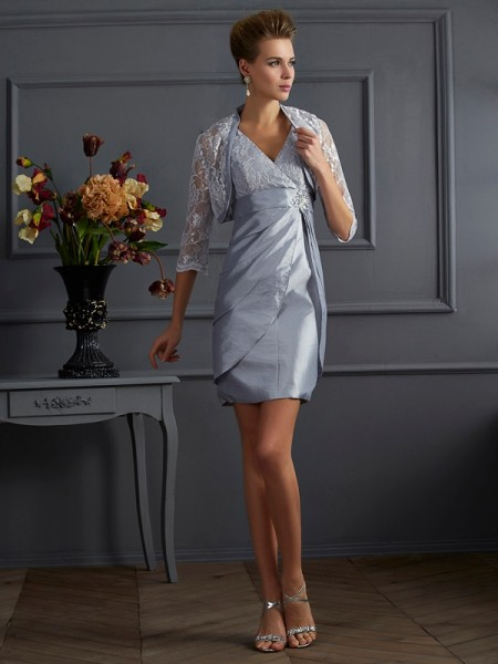 Sheath V-neck Short Taffeta Mother of the Bride Dresses