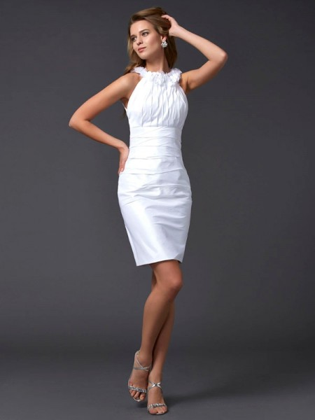 Sheath High Neck Hand-Made Flower Short Taffeta Homecoming Dresses