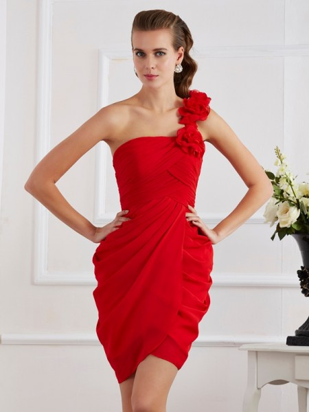 Sheath One-Shoulder Hand-Made Flower Short Chiffon Homecoming Dresses