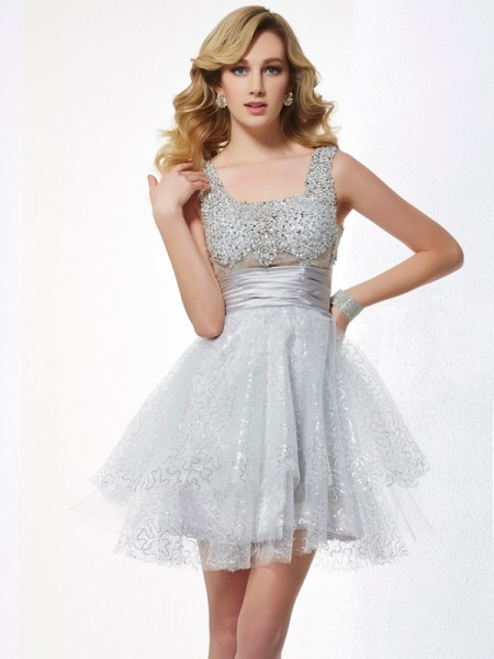 A-Line Straps Beading Short Elastic Woven Satin Homecoming Dresses