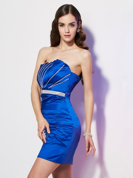 Sheath Strapless Beading Short Satin Homecoming Dresses