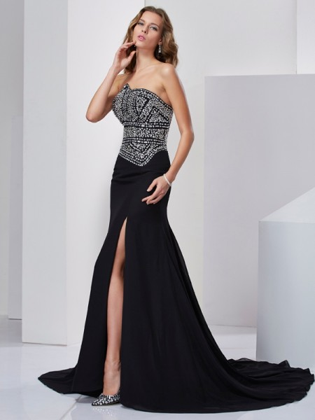 A-Line Strapless Beading Chiffon Prom Dresses