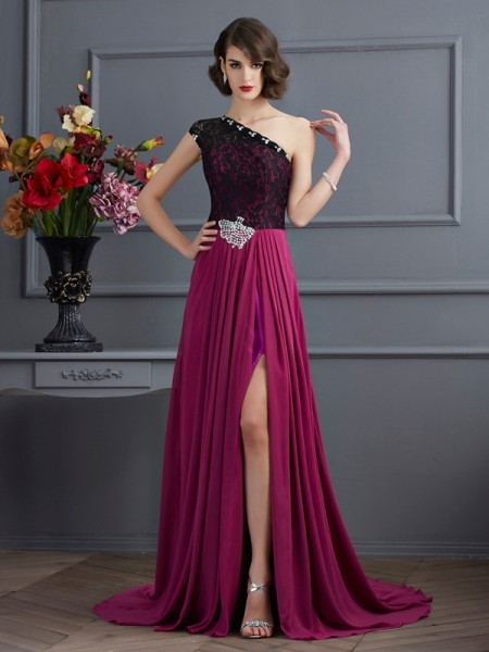 A-Line One-Shoulder Lace Chiffon Prom Dresses