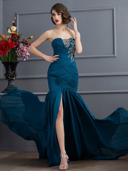 Mermaid Strapless Beading Applique Chiffon Prom Dresses