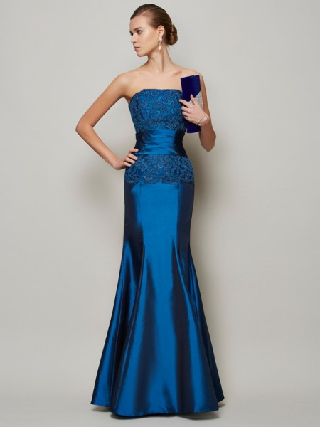 Mermaid Strapless Applique Beading Taffeta Prom Dresses