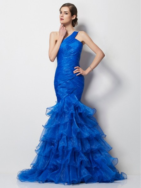 Mermaid One-Shoulder Pleats Tulle Prom Dresses