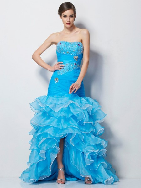 Mermaid Sweetheart Beading High Low Tulle Prom Dresses