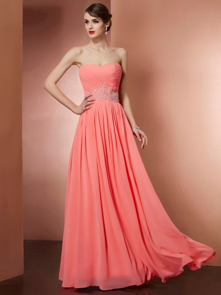 A-Line Strapless Pleats Beading Chiffon Prom Dresses
