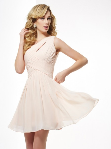 A-Line One-Shoulder Pleats Short Chiffon Homecoming Dresses