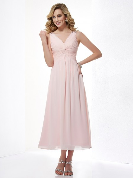 A-Line V-neck Pleats Short Chiffon Dresses