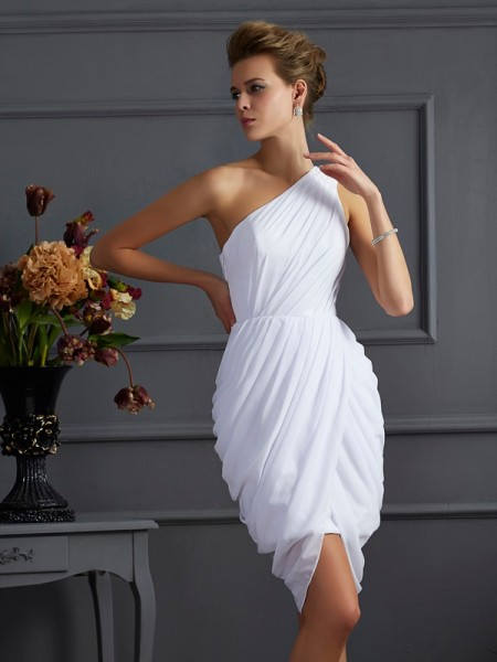 Sheath One-Shoulder Pleats Short Chiffon Homecoming Dresses