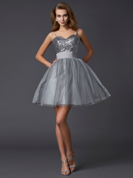 A-Line Spaghetti Straps Short Organza Homecoming Dresses