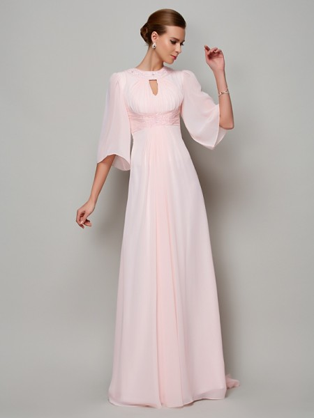 A-Line High Neck Beading Chiffon Mother of the Bride Dresses