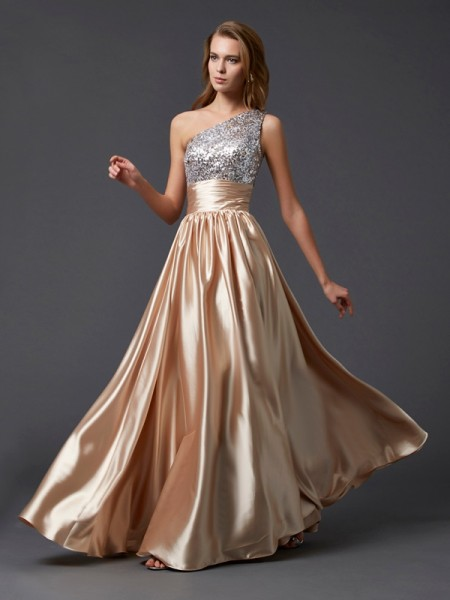 A-Line One-Shoulder Paillette Elastic Woven Satin Prom Dresses