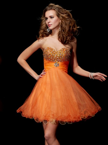 A-Line Strapless Beading Short Organza Homecoming Dresses