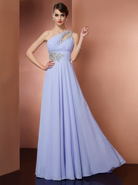A-Line One-Shoulder Applique Beading Chiffon Prom Dresses