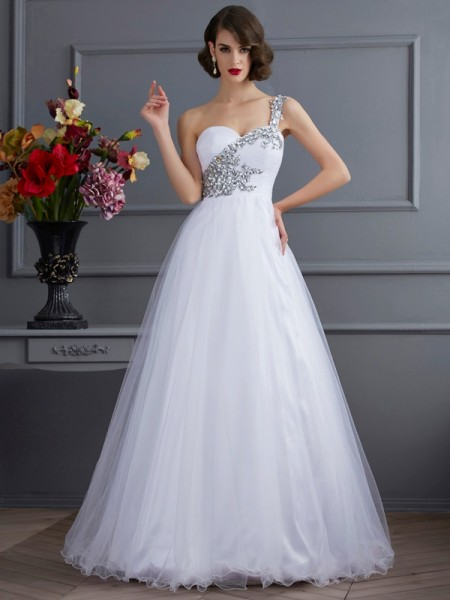 One-Shoulder Beading Elastic Woven Satin Ball Gown Quinceanera Dresses
