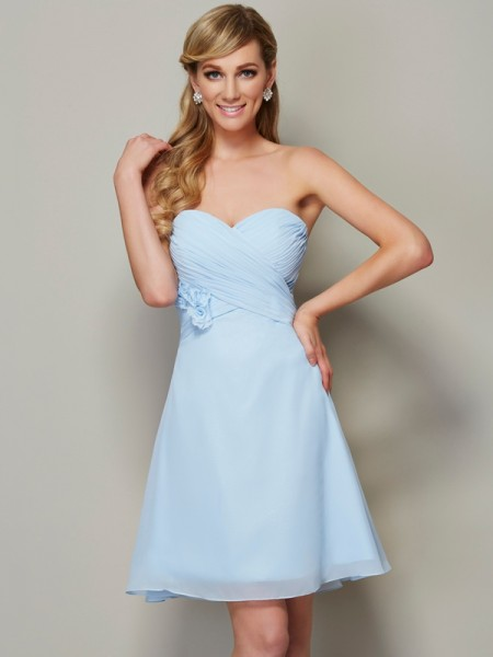 A-Line Sweetheart Hand-Made Flower Short Chiffon Homecoming Dresses