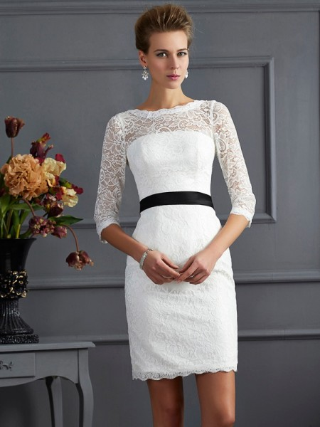 Sheath Scoop Sash/Ribbon/Belt Short Lace Mother of the Bride Dresses