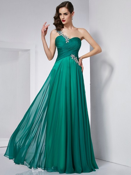 A-Line One-Shoulder Chiffon Prom Dresses