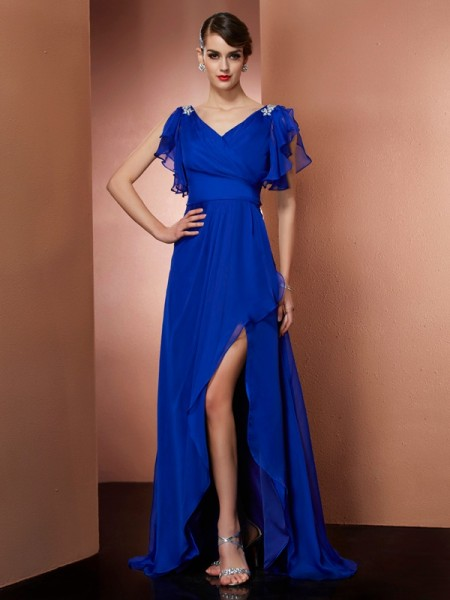 A-Line V-neck Beading High Low Chiffon Prom Dresses