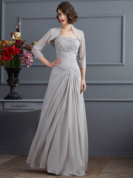 A-Line One-Shoulder Beading Chiffon Mother of the Bride Dresses