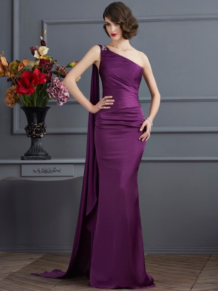 Sheath One-Shoulder Chiffon Prom Dresses