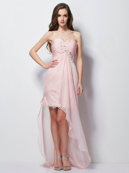 A-Line Sweetheart Beading Applique High Low Chiffon Prom Dresses