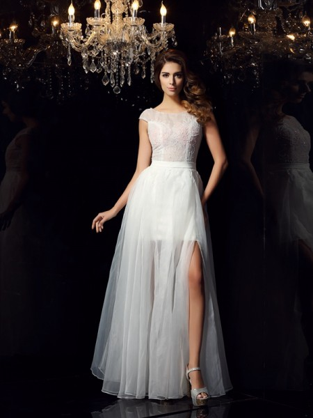 A-Line Scoop Beading Tulle Prom Dresses