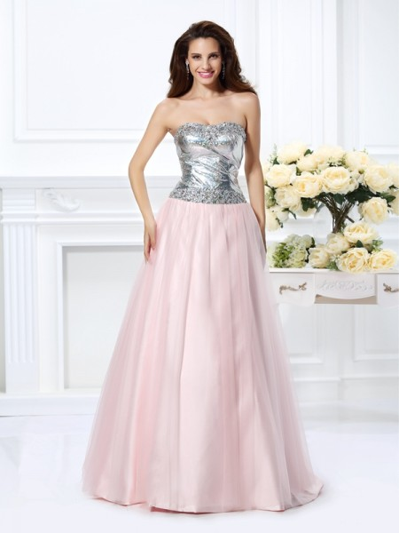 Sweetheart Beading Satin Ball Gown Quinceanera Dresses