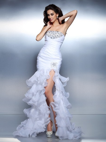 Mermaid Strapless Beading Ruched Organza Prom Dresses