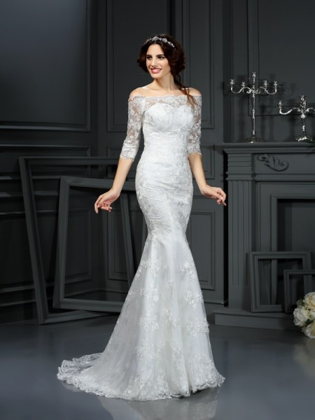 Sheath Off-the-Shoulder Lace Lace Wedding Dresses