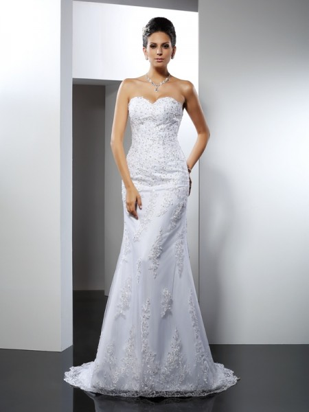 Mermaid Sweetheart Lace Satin Wedding Dresses