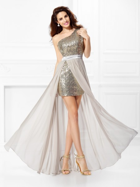 A-Line One-Shoulder Sequin Chiffon Prom Dresses