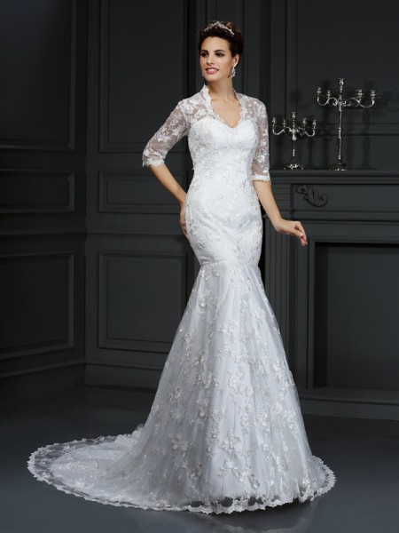 Mermaid V-neck Lace Lace Wedding Dresses