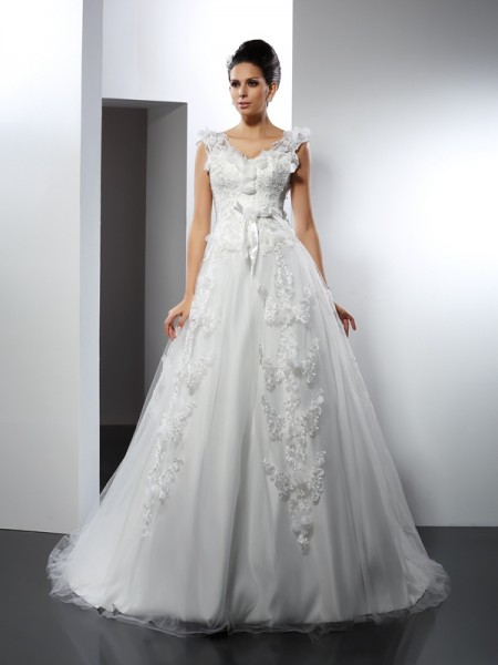 A-Line Straps Lace Satin Wedding Dresses