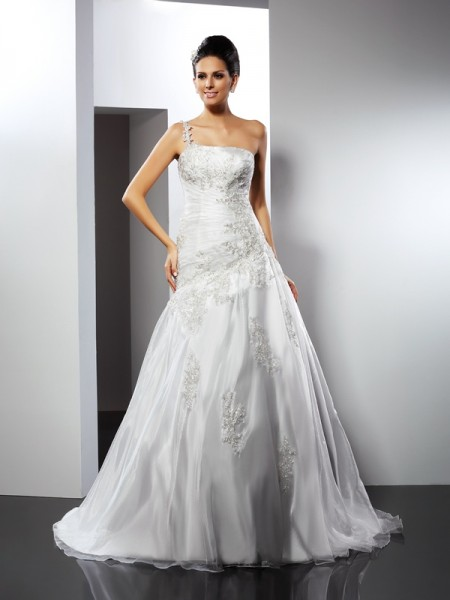 A-Line One-Shoulder Applique Satin Wedding Dresses