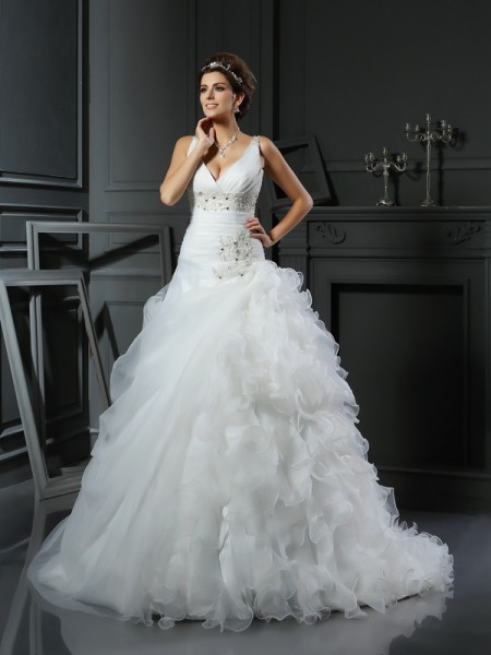V-neck Ruffles Organza Ball Gown Wedding Dresses
