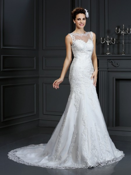 Sheath Bateau Lace Satin Wedding Dresses
