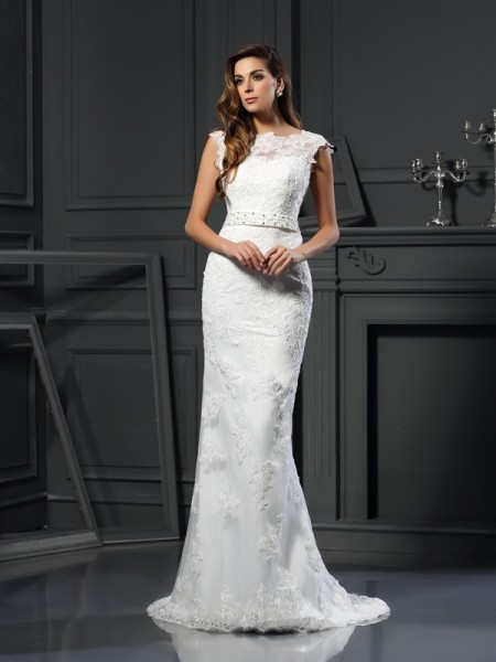 A-Line Bateau Lace Satin Wedding Dresses