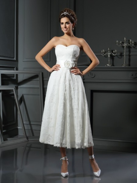 A-Line Sweetheart Lace Short Lace Wedding Dresses
