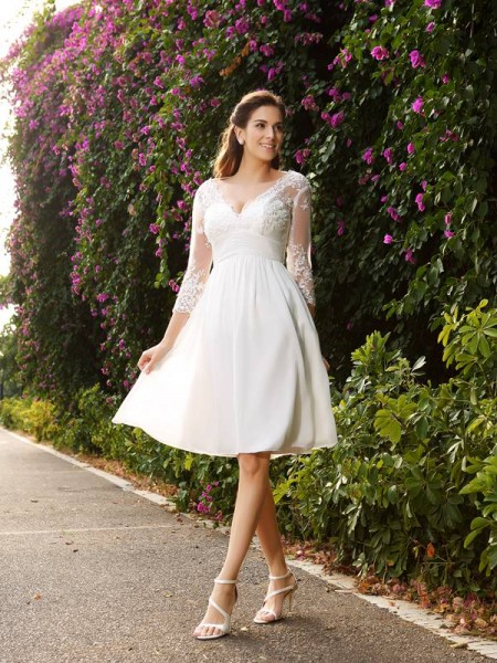 A-Line V-neck Short Chiffon Wedding Dresses