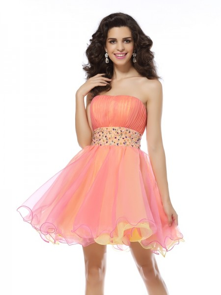 A-Line Strapless Beading Short Organza Cocktail Dresses
