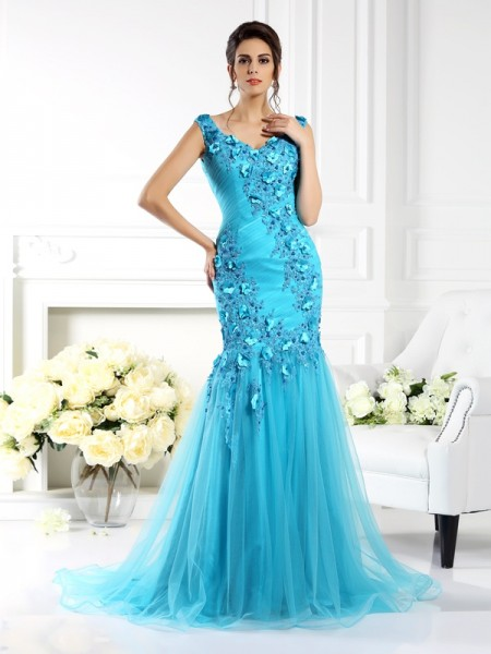 Mermaid Straps Applique Silk like Satin Prom Dresses