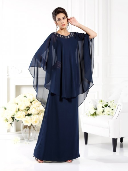 A-Line Scoop Chiffon Mother of the Bride Dresses