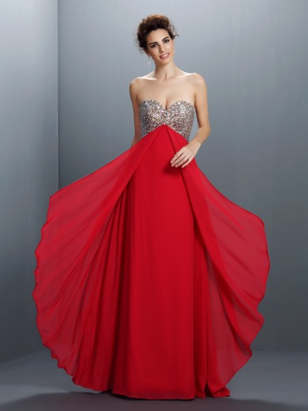 A-Line Sweetheart Beading Paillette Chiffon Prom Dresses