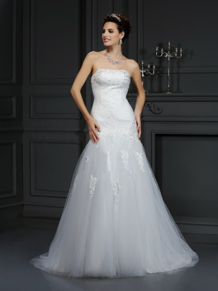 Sheath Strapless Lace Satin Wedding Dresses