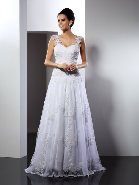 A-Line Straps Applique Lace Wedding Prom Dresses