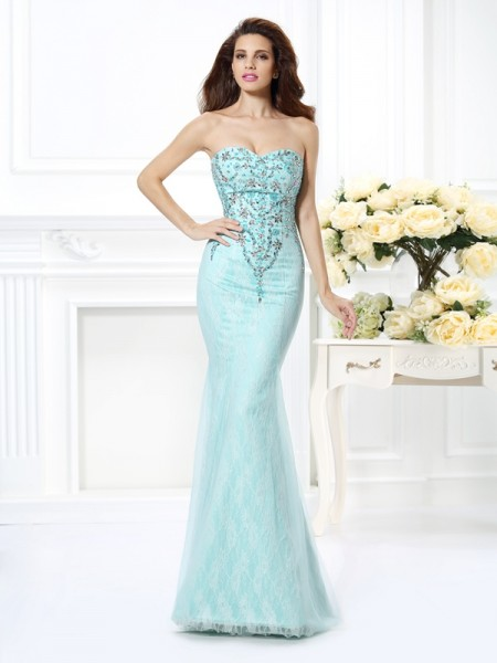 Mermaid Sweetheart Beading Lace Net Prom Dresses