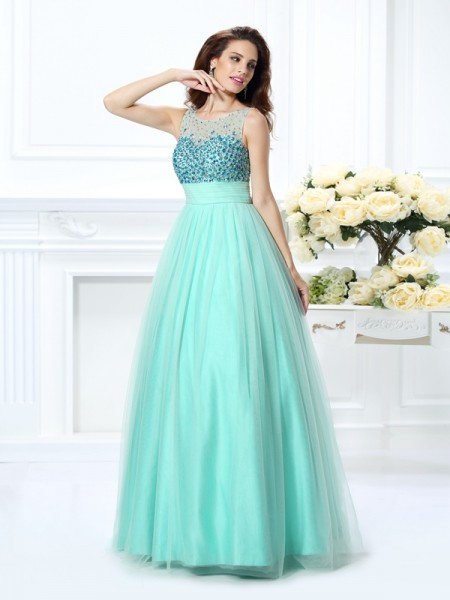 Bateau Beading Chiffon Ball Gown Quinceanera Prom Dresses